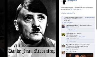Auf der Facebook-Seite eines ukrainischen Internetsenders wird Angela Merkel mit Hitler-Bärtchen dargestellt. (Foto)