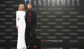 Nicola Peltz und Jack Reynor anlässlich der Deutschlandpremiere von «Transformers 4» im Sony Center in Berlin. (Foto)