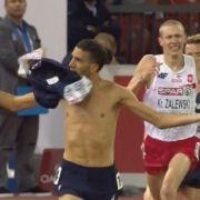 Zu früh gefreut: Nach seinem Nackt-Jubel beim Hindernislauf bei der Leichtathletik EM in Zürich wurde der Mekhissi-Benabbad disqualifiziert.
