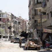 Pure Zerstörung: Unzählige Gebäude in Damaskus in Syrien sind völlig zerstört und unbewohnbar.