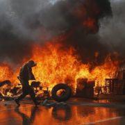 Auf dem Maidan in Kiew protestieren Aktivisten gegen die ukrainische Regierung.