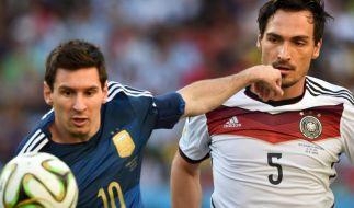 Ein Wiedersehen von Lionel Messi (li.) und Mats Hummels gab es beim Länderspiel nicht - Argentiniens Messi war nicht im Aufgebot von Coach Martino. (Foto)