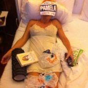 Pamela Anderson nach dem New York Marathon.