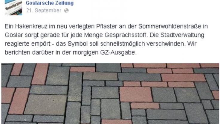Ein Hakenkreuz mitten in der Fußgängerzone: Für viele Goslarer ein Schock! (Foto)