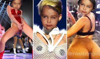 Kinderkopf und sexy Pose - das passt nicht zusammen. Miley Cyrus scheint das anders zu sehen. (Foto)