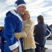 Ralf Schumacher als blauer BMW-Weihnachtsmann