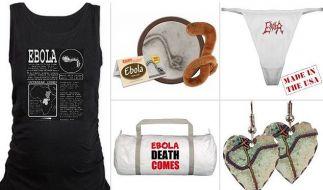 Mieses Geschäft: Während in Afrika bereits tausende Ebola zum Opfer gefallen sind, kann man in den USA Merchandise kaufen. Wie geschmacklos ist das? (Foto)