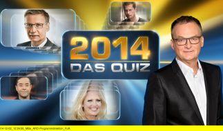 2014 - Das Quiz: Frank Plasberg stellt Günther Jauch, Jan Josef Liefers, Barbara Schöneberger und Til Schweiger auf die Probe. (Foto)