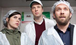Kira Dorn (Nora Tschirner), Sigmar Hoppe (Stephan Grossmann) und Lessing (Christian Ulmen) im Kühlhaus. (Foto)