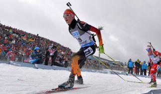 Beim Biathlon-Weltcup in Ruhpolding 2015 wollen die deutschen Biathleten aufs Podest. (Foto)