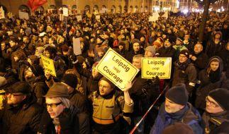 Am 30.01.2015 wollte Legida erneut in Leipzig demonstrieren. Doch zum Protest kamen abermals weit weniger Teilnehmer als erwartet. (Foto)