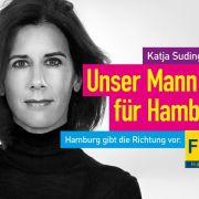 Wahlplakat von Hamburgs FDP-Spitzenkandidatin Katja Suding.