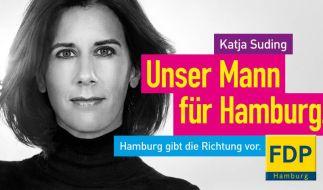 Wahlplakat von Hamburgs FDP-Spitzenkandidatin Katja Suding. (Foto)