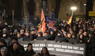 Pegida-Demonstranten in Dresden. (Foto)