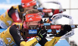 Bei der Biathlon-WM 2015 in Kontiolahti rechnen sich die Deutschen gute Chancen aus. (Foto)