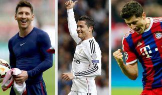 Lionel Messi, Cristiano Ronaldo und Robert Lewandowski sind unter den Topverdienern der Fußball-Stars (v.l.). (Foto)