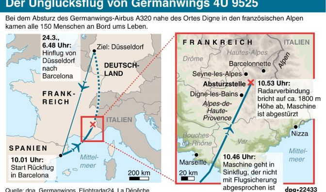 Absturzstelle des Germanwings-Flugzeugs: Schrägansicht des Berghangs in den französischen Alpen.