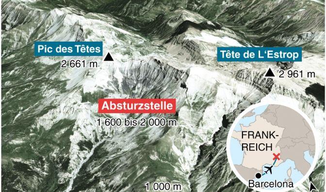 Detaillierte Karte zum Absturz des Germanwings-Airbus in Frankreich.
