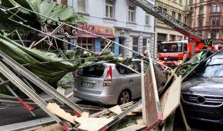 In der Innenstadt von Frankfurt (Hessen) hat Orkan Niklas bereits sichtbare Schäden angerichtet. (Foto)