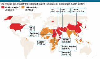 Grafik zu Hinrichtungen und Todesurteilen weltweit im Jahr 2014. (Foto)