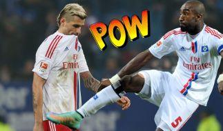 Die Schweizer Nationalspieler Valon Behrami und Johan Djourou lieferten sich in der Halbzeitpause im Spiel gegen Wolfsburg eine handfeste Auseinandersetzung. (Foto)