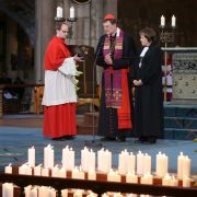 Kardinal Rainer Woelki und Pastorin Annette Kurschus im Kölner Dom bei der Trauerfeier für die Angehörigen für Todesflug 4U9525.