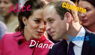 Bringen sie den Namen Diana ins Königshaus zurück? Kate und William werden erneut Eltern. (Foto)