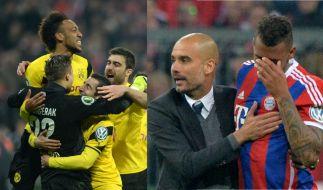 Die Dortmunder feiern, Bayern nach Pokal-Aus sichtlich am Ende. (Foto)