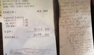 Ein Mann hat einer Bedinung 3000 Dollar Trinkgeld gegeben. (Foto)