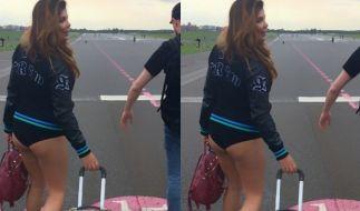 Indira Weis unten ohne am Flughafen. (Foto)