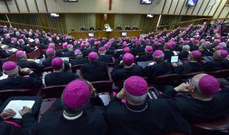 Bischöfe folgen einer Rede von Papst Franziskus während einer Konferenz im Vatikan. (Foto)