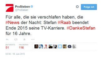 ProSieben sagt auf Twitter Danke. (Foto)