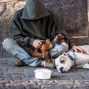 Kein Geld an Bettler in der Stadt (Foto)
