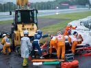 Jules Bianchi war bei regennasser Fahrbahn von der Strecke abgekommen und in einen Bergungskran gekracht. (Foto)