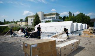 In dieser Dresdner Zeltstadt sollen bis zu 800 Flüchtlinge Platz finden. (Foto)