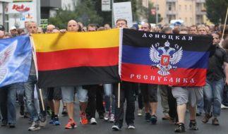 Teilnehmer eines Rechten Aufmarsches in Heidenau. (Foto)