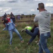 Flüchtlinge getreten: Brutalo-Kamerafrau entschuldigt sich (Foto)