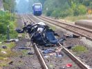 Die Überreste des verunglückten Wagens in Monzingen. (Foto)