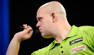 Dartspieler Michael van Gerwen (Niederlande) gewann das Turnier von Dublin im letzten Jahr. (Foto)