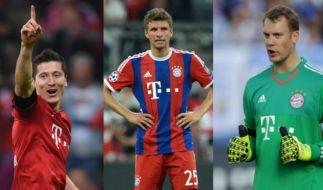 Bayern-Trio bei der Vorauswahl zur Wahl des Weltfußballers nominiert: Robert Lewandowski, Thomas Müller, Manuel Neuer (v.li.). (Foto)