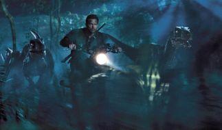 Owen (Chris Pratt) und seine trainierten Raptoren auf der Jagd nach dem Monstersaurier. (Foto)