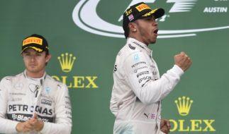 Der Zoff zwischen Lewis Hamilton und Nico Rosberg eskalierte kurz vor der Siegerehrung in Austin. (Foto)