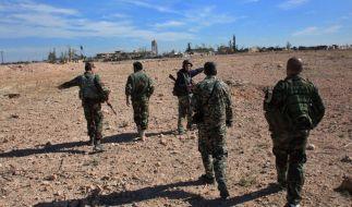 Syrische Truppen in der Nähe von Aleppo. (Foto)