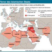 Diese Karte zeigt das IS-Kerngebiet, ausgerufene Provinzen und Anschlagsorte des Islamischen Staates.