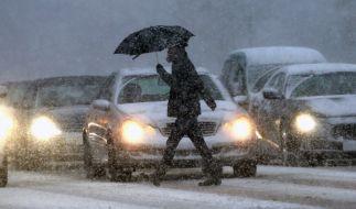 Auch in Hamburg herrschte am Sonntagnachmittag dichtes Schneetreiben. (Foto)