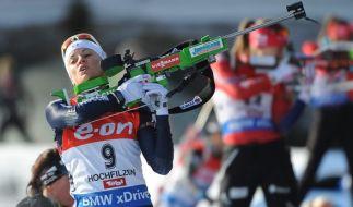 Die deutschen Biathletinnen haben den Staffelsieg knapp verpasst. (Foto)