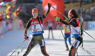 Die deutschen Biathlon-Frauen wollen auch in Pokljuka um die Podestplätze mitfahren. (Foto)