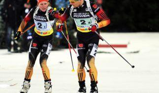 Die deutschen Biathleten Franziska Hildebrand und Erik Lesser sind auch bei der Biathlon-World-Team-Challenge 2015 wieder mit dabei. (Foto)
