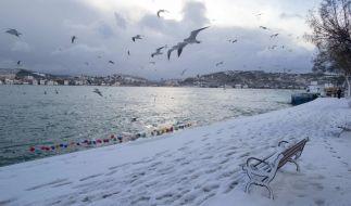 In Istanbul hat es geschneit. (Foto)