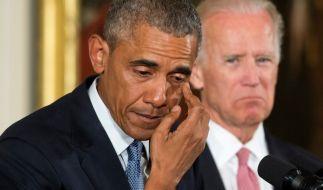 30.000 Schusswaffenopfer pro Jahr: Mit Tränen in den Augen gedachte US-Präsident Barack Obama den Opfern von Columbine, Newtown und anderen Städten. (Foto)